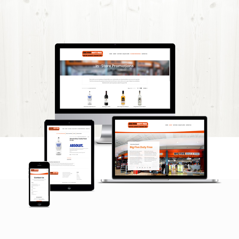 Big Five Duty Free site design and development